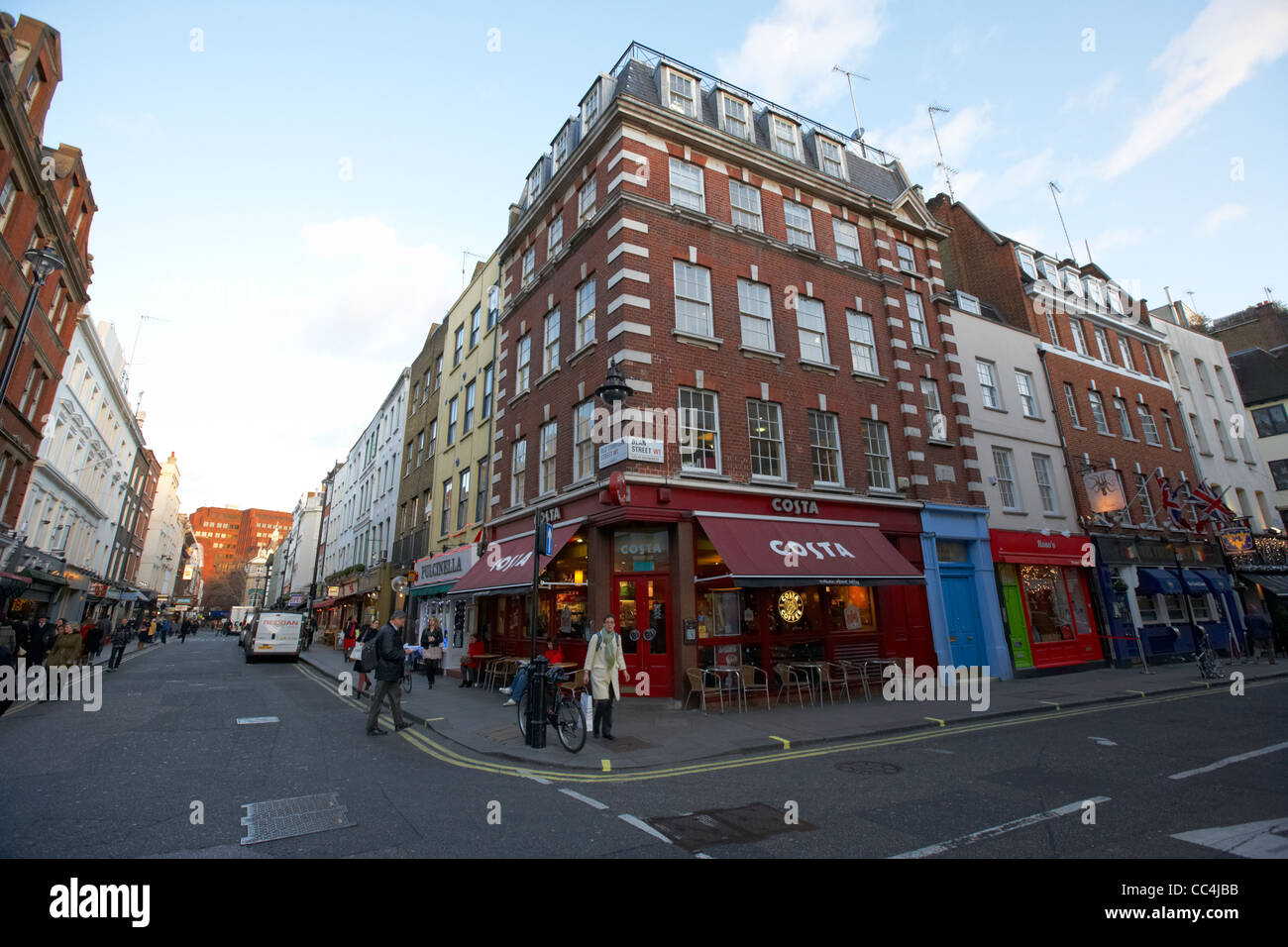 junction of old compton street and dean street in soho London England UK United kingdom - Stock Image