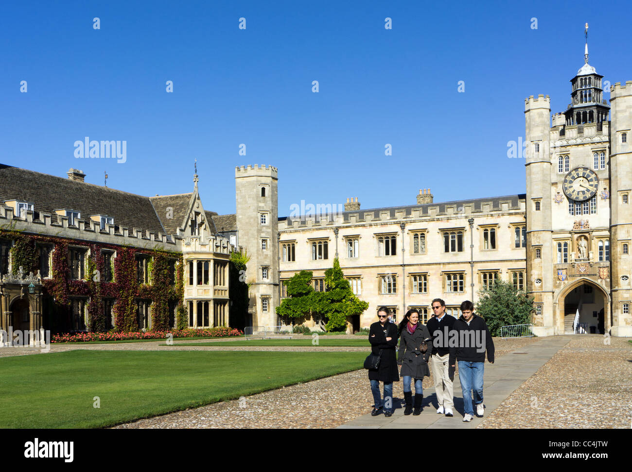 The Great Court (with Master's Lodge on left and Chapel entrance on right) , Trinity College, Cambridge University. - Stock Image
