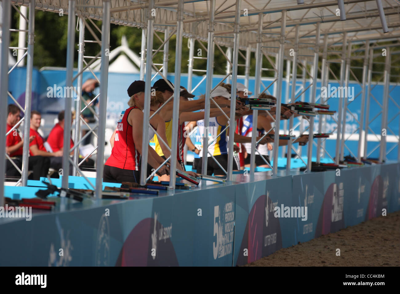 Shooting at the womens modern pentathlon at Greenwich park as part of the London prepares series for 2012 - Stock Image
