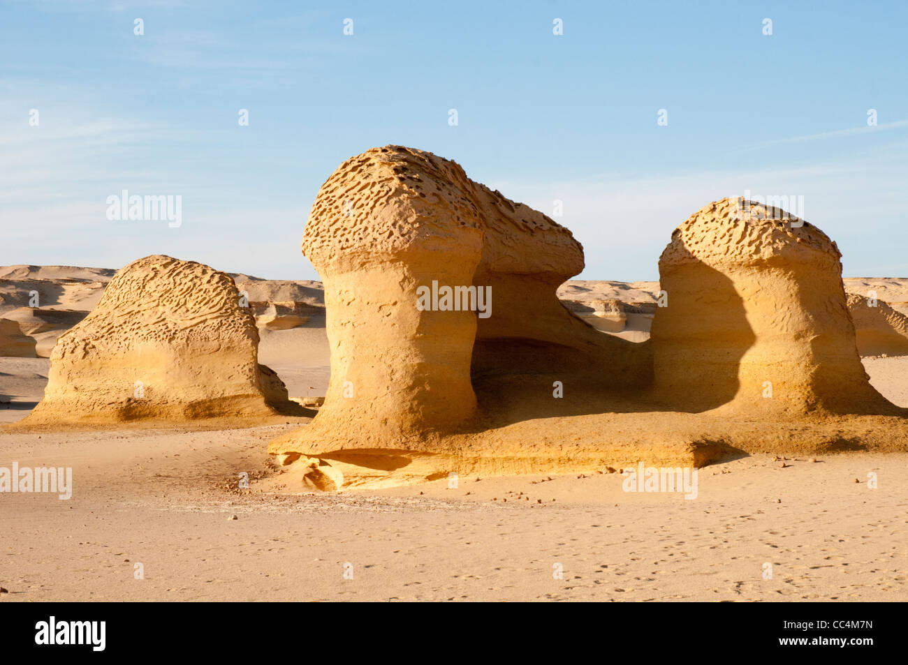 Desert landforms formed by wind erosion at Wadi al-Hitan, Valley of the Whales - Stock Image