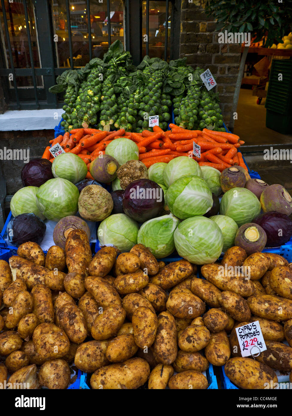 Selection of fresh vegetables on sale at Borough Market Southwark London UK - Stock Image