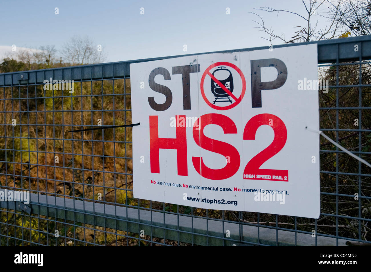 Anti-High Speed 2 sign in the Chilterns, UK Stock Photo