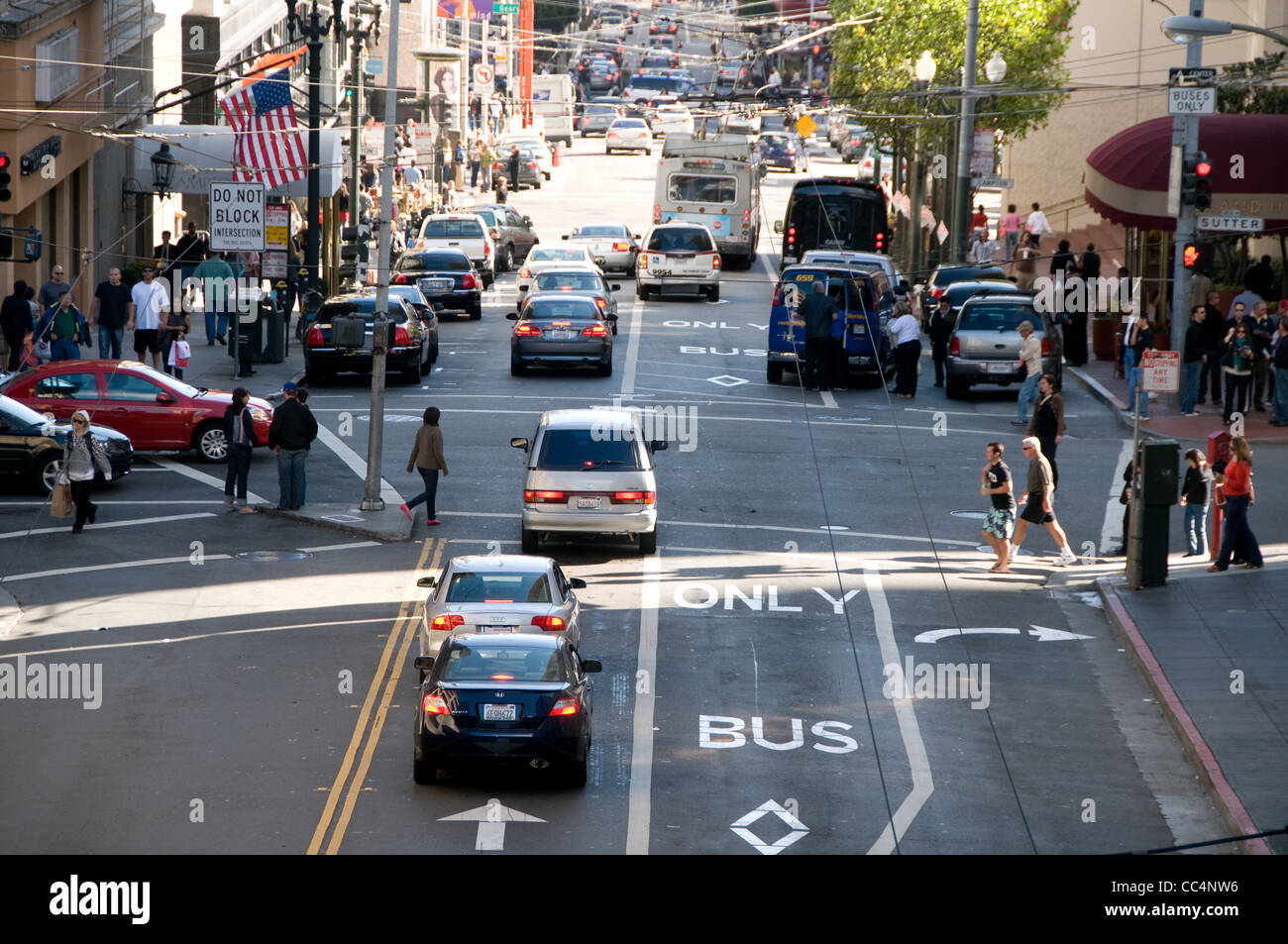 Busy street in downtown San Francisco - Stock Image