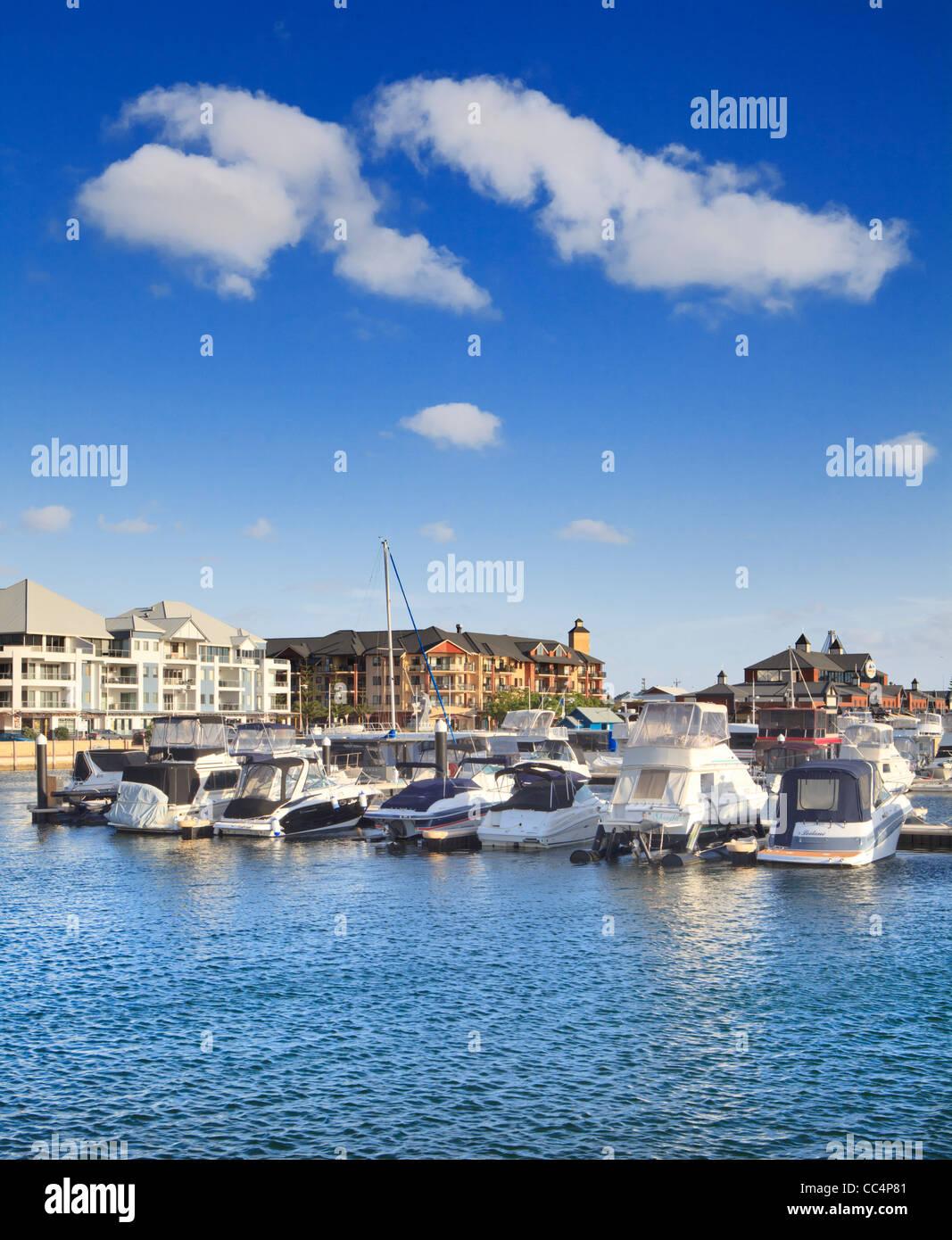 Boats moored at Dolphin Quay Ocean Marina in Mandurah, Western Australia - Stock Image