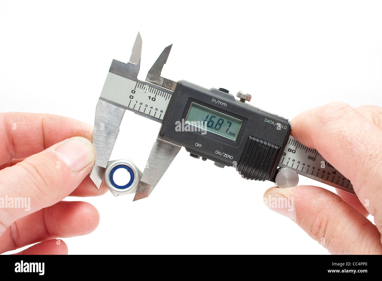 Measuring Equipment Digital Vernier Gauge measuring Nut - Stock Image