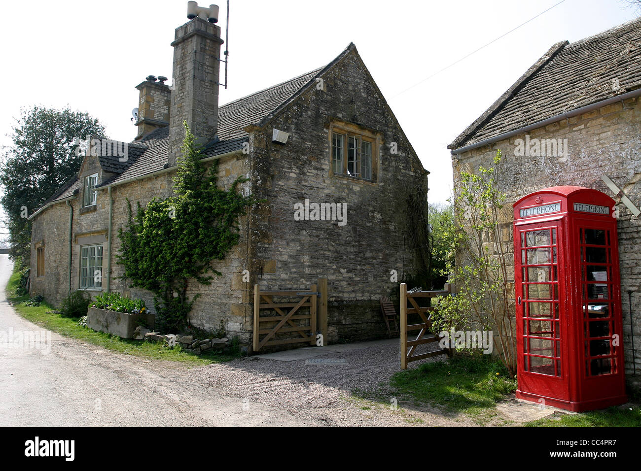 Country Lane With A Red Phone Box - Stock Image
