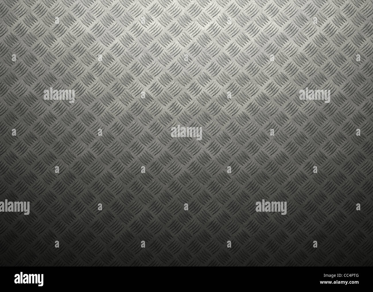 Metal grating with atmospheric light and shading, great for industrial and construction designs and backgrounds. Stock Photo