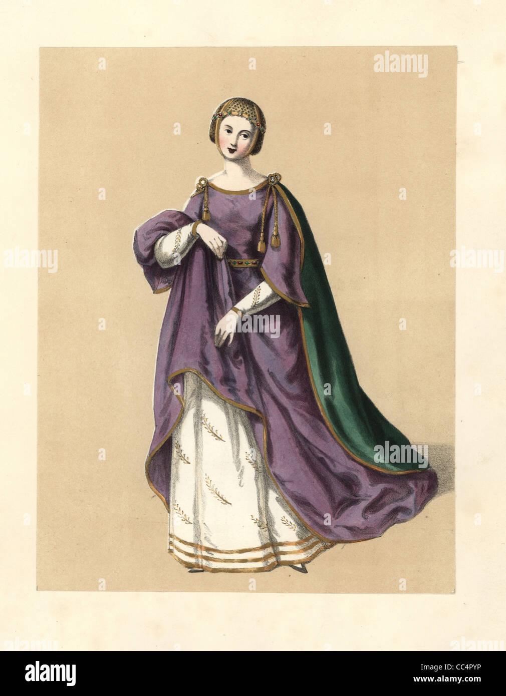 Dress of the reign of King Edward I, Longshanks. - Stock Image