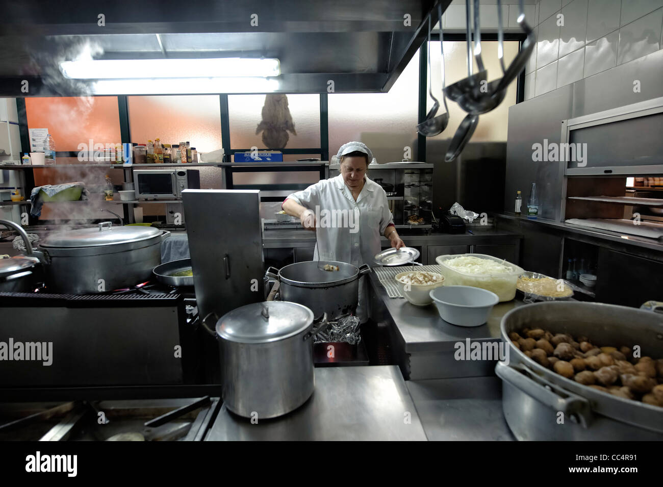 Exterior: Chef Preparing Food In A Restaurant's Modern Professional