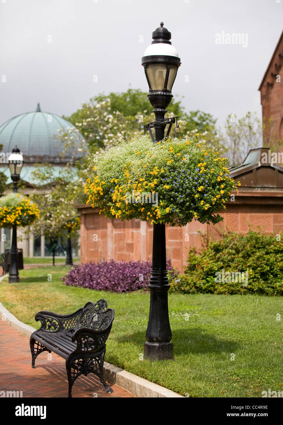 Hanging Planter Baskets On Street Lamp Post Stock Photo  41902714