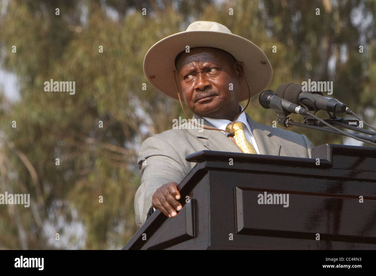 Ugandan President Yoweri Museveni makes the final remarks in his 2011 campaign for re-election. - Stock Image