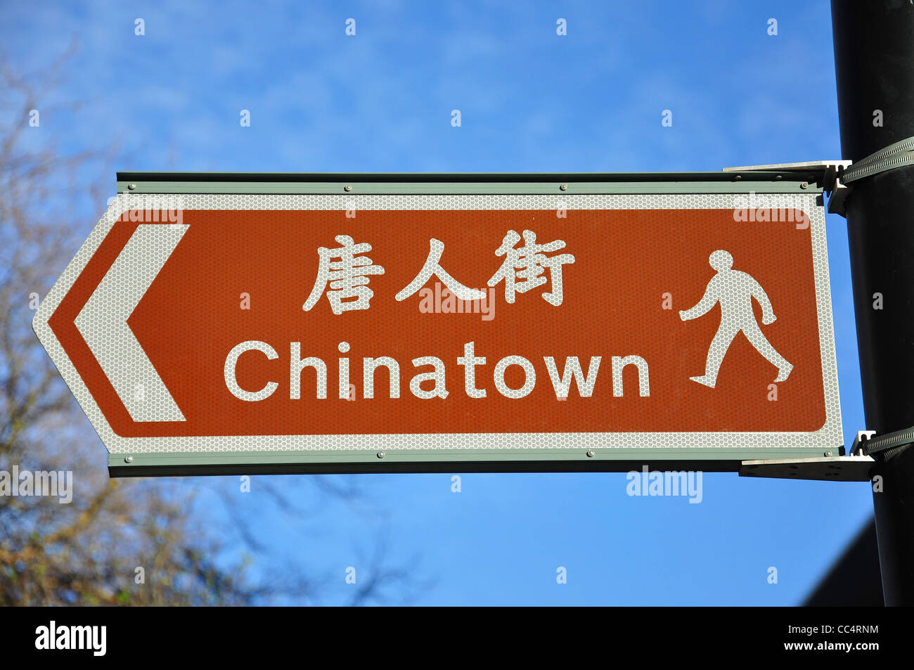 Pedestrian sign to Chinatown, Newcastle upon Tyne, Tyne and Wear, England, United Kingdom Stock Photo