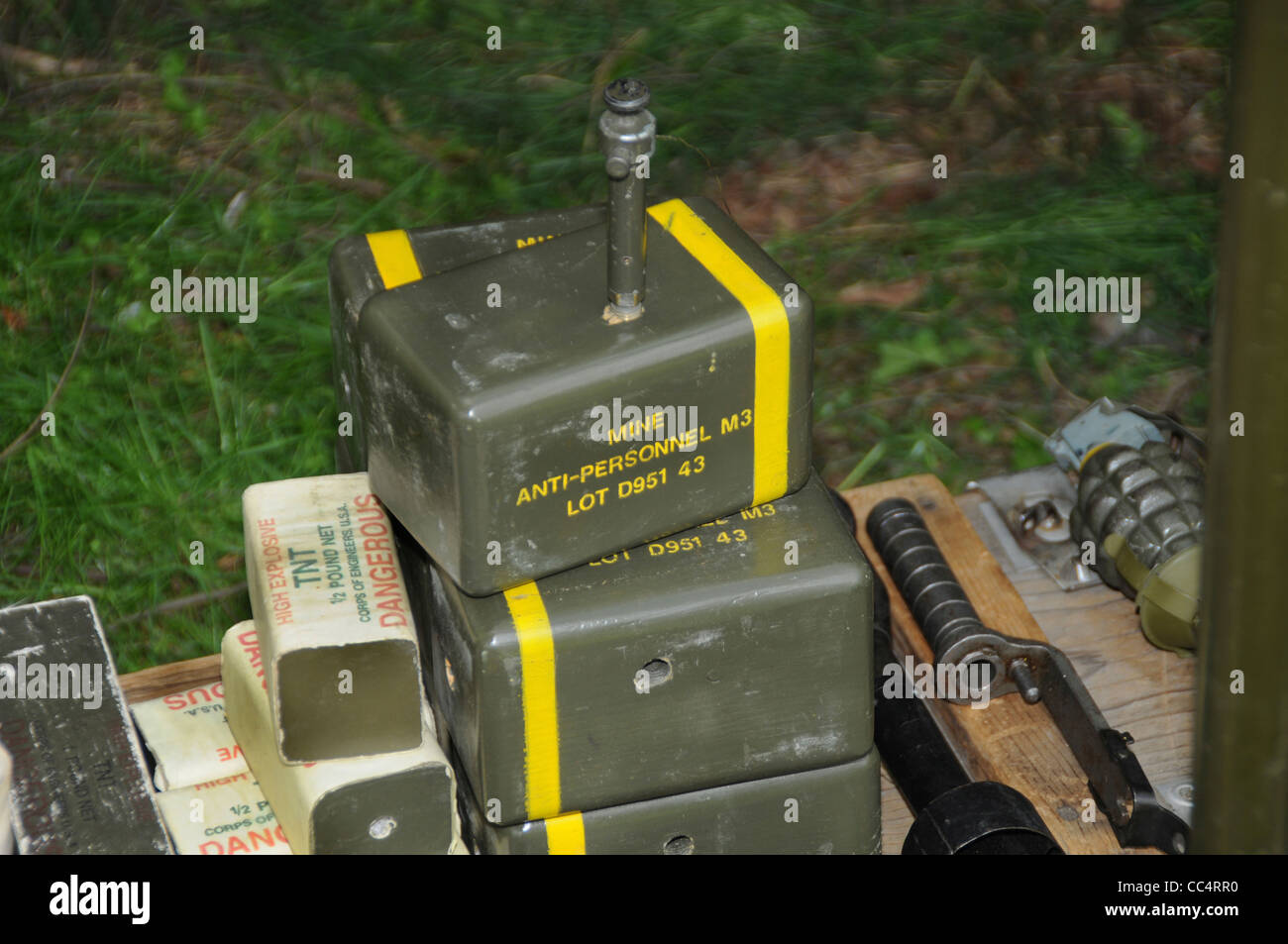 WWII explosives sitting on the grass - Stock Image