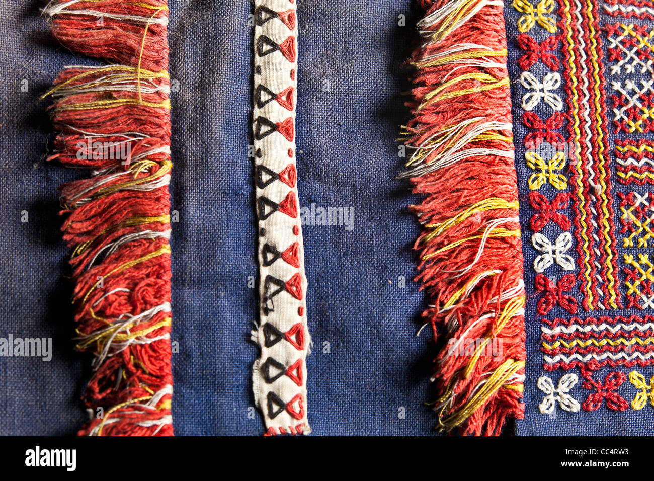 traditional woven clothing textiles & textile of the Philippines local tribes in Mindanao. tribal colored cloth - Stock Image