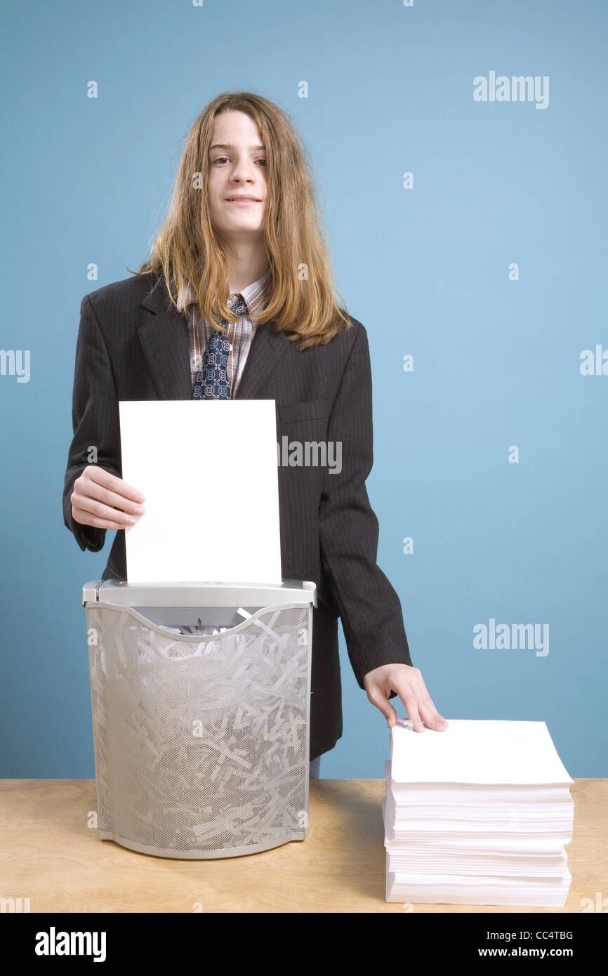 Young Executive in Randomly Destructive Phase - Stock Image
