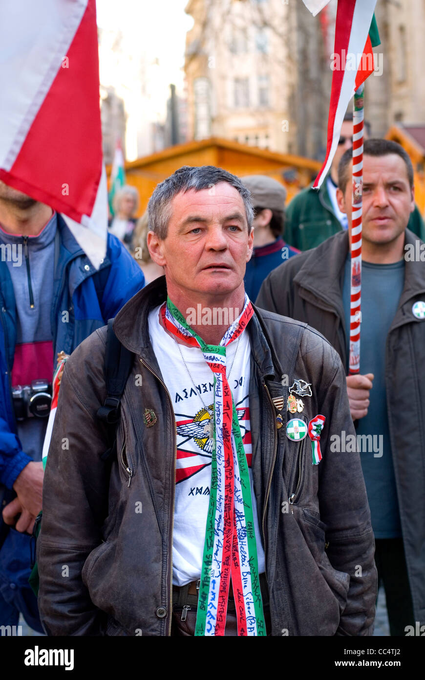 Hungarian nationalists demonstrate at the occasion of the 15 March commemoration of the 1848 revolution in Budapest - Stock Image