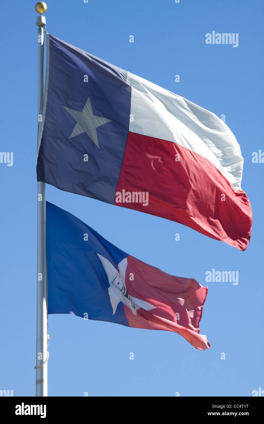 Flags of the lone star state of Texas and the Alamo, San Antonio, US - Stock Image