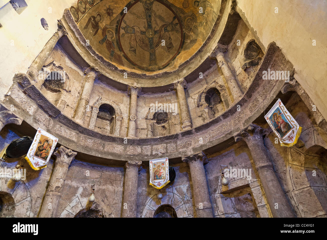 In the Apse of the Coptic White Monastery near the Upper Egyptian city of Sohag, Middle Egypt - Stock Image