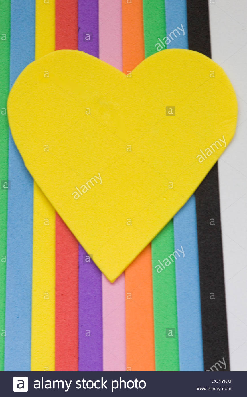 Colorful foam shapes Cut outs - Stock Image