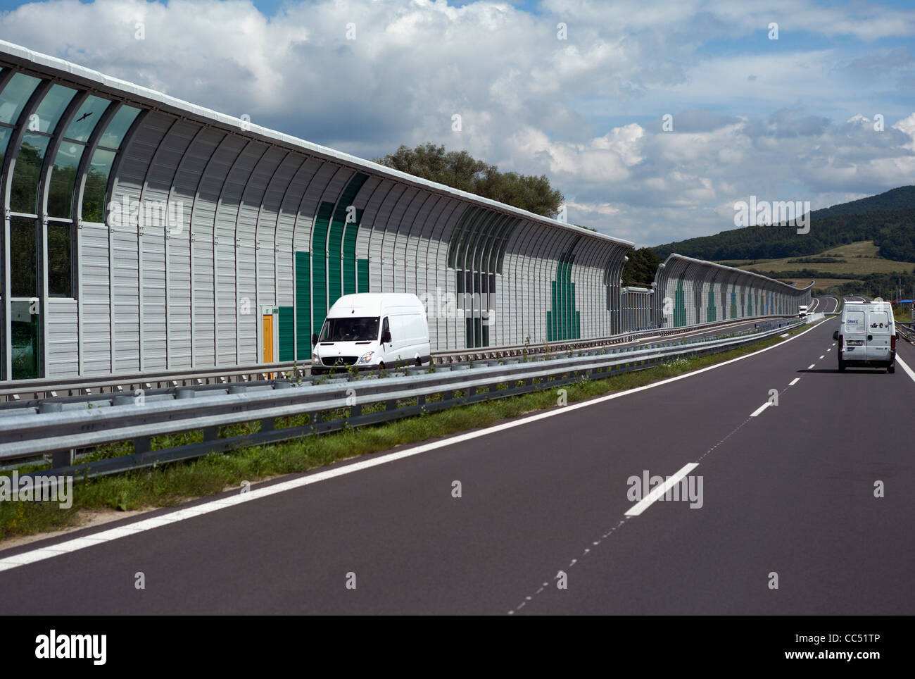Sound reduction / prevention barriers on the E50 motorway near Poprad Slovakia - Stock Image