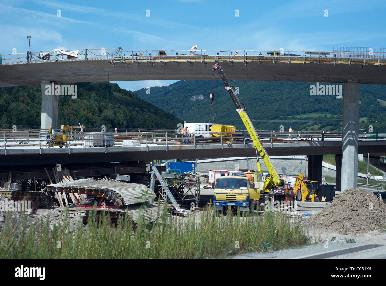 New bypass road under construction in Banska Bystrica Central Slovakia - Stock Image