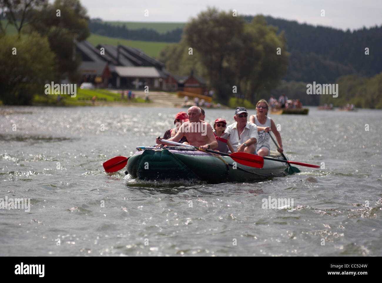 Rafting on the Dunajec river in Pieniny National Park on the Slovak Polish border - Stock Image