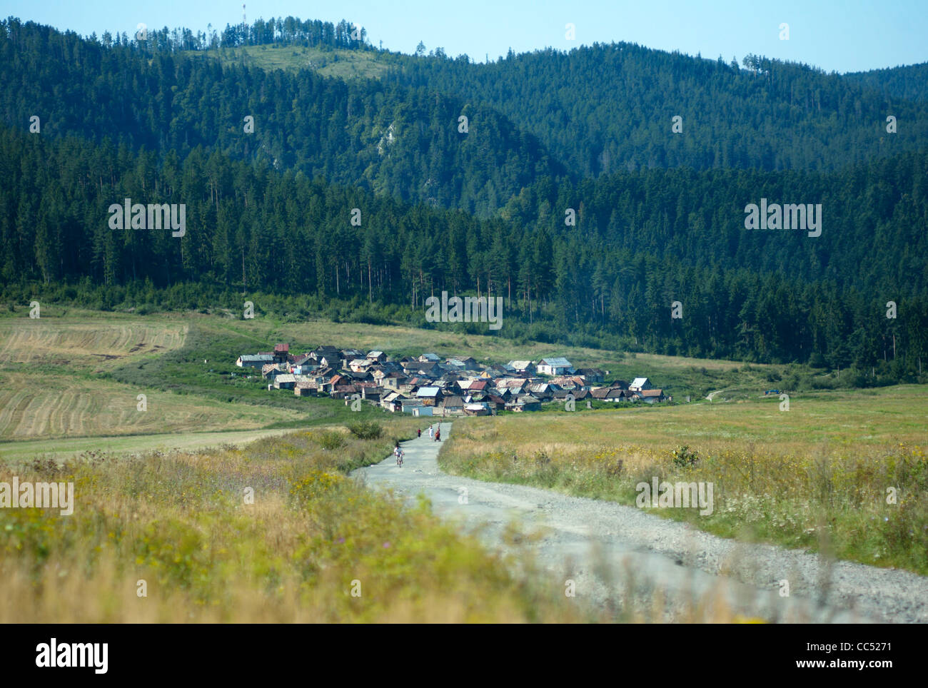 A Gypsy or Roma village on the northern side of the Slovensky Raj National Park near Letanovce slovakia - Stock Image
