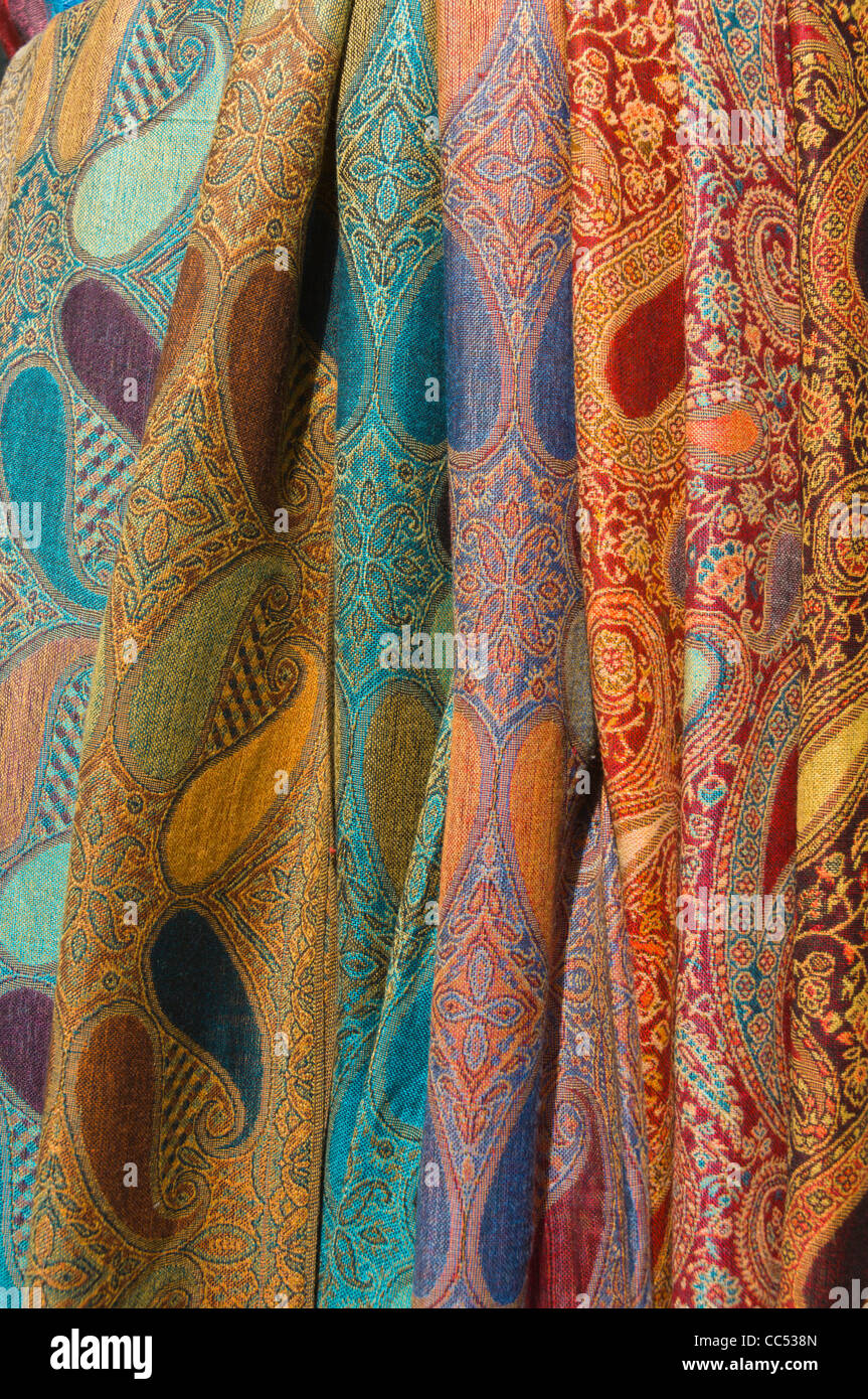 Textiles outside shop Vaci utca street central Budapest Hungary Europe - Stock Image