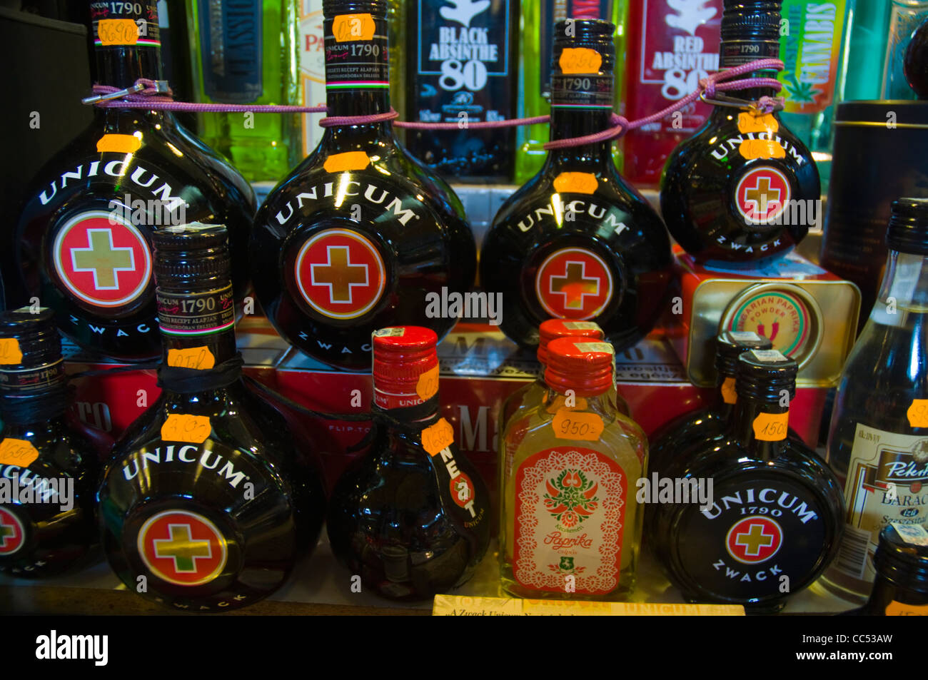 Unicum and other local spirits Budapest Hungary Europe - Stock Image