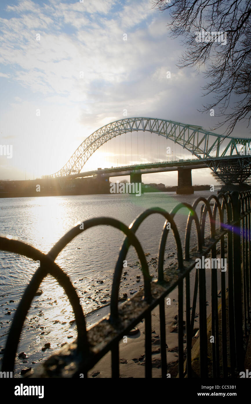 Runcorn Bridge between Runcorn and Widnes, Cheshire, England,UK - Stock Image