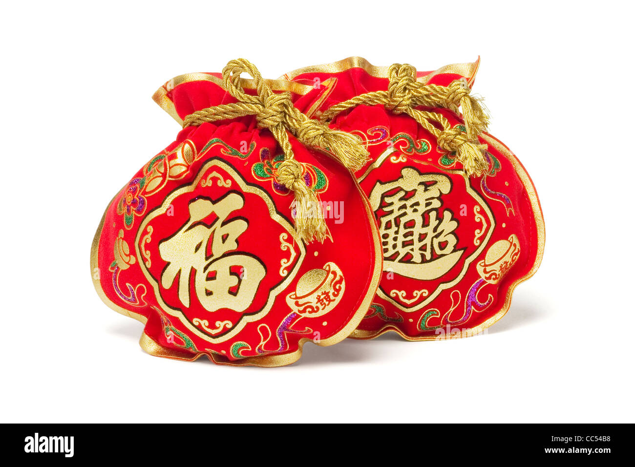 Two Chinese New Year Gift Bags on White Background - Stock Image