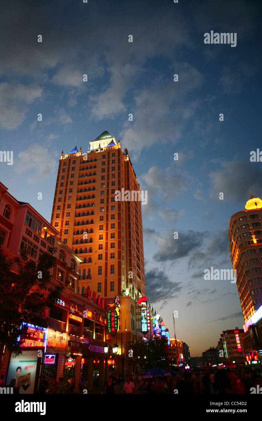 Night scene of Manzhouli, Hulunbuir, Inner Mongolia Autonomous Region, China - Stock Image