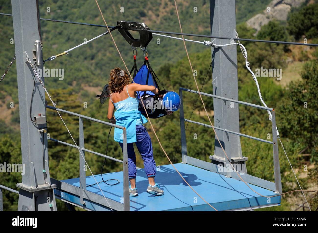 italy, basilicata, dolomiti lucane regional park, pietrapertosa, volo dell'angelo Stock Photo