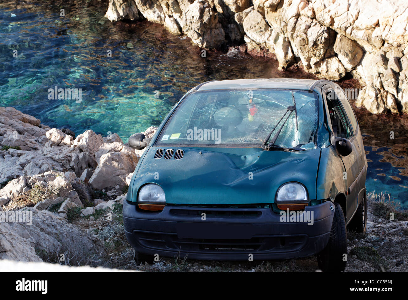 Spectacular accident on the sea shore of Marseille - Stock Image