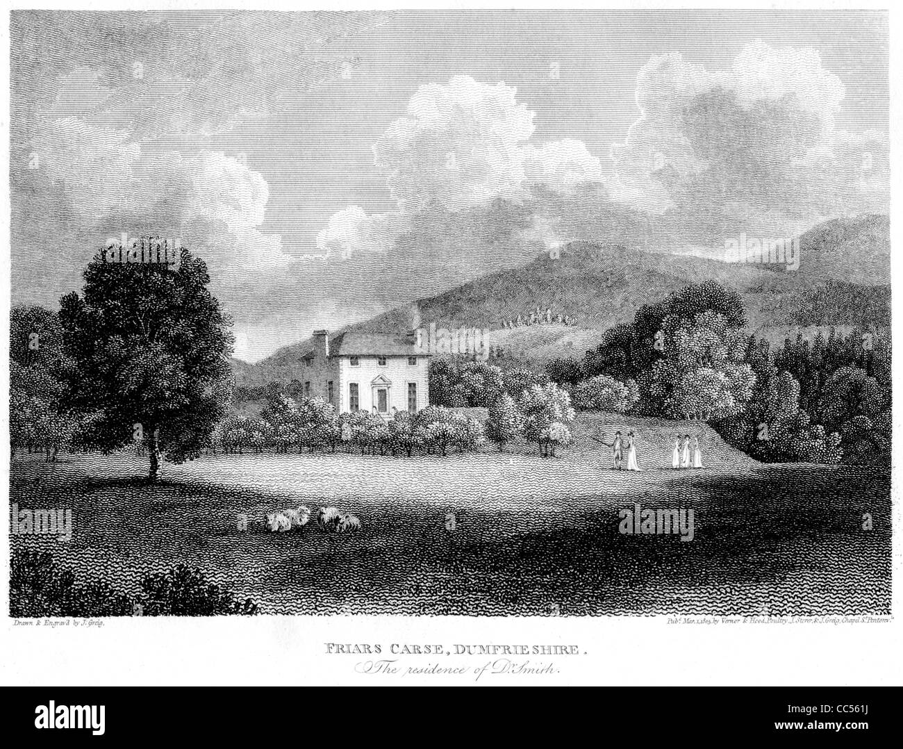 Friars Carse Dumfrieshire, an engraving from a book about Robert Burns published in 1805. Inspired Burns ballad - Stock Image