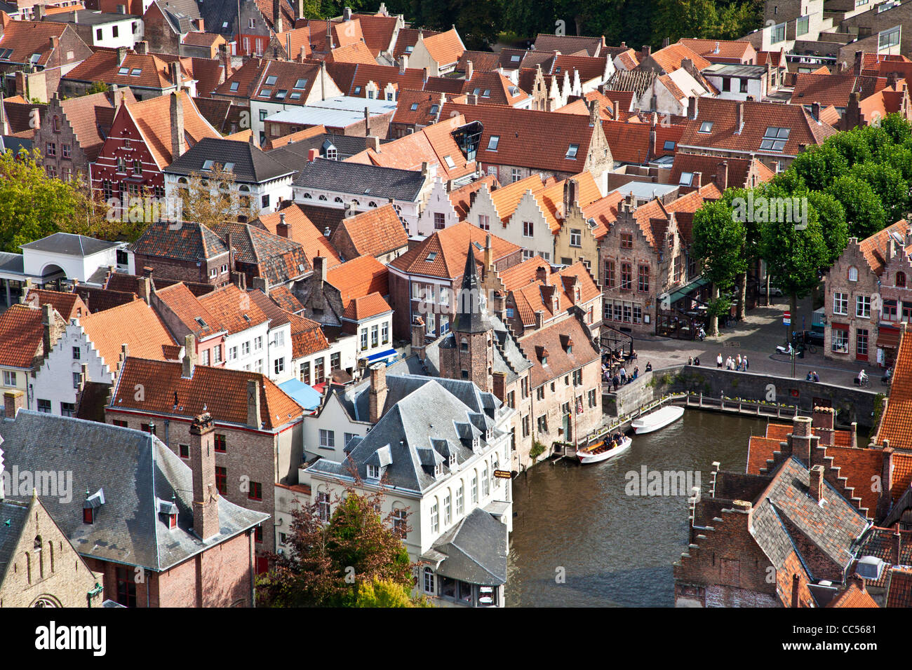 Aerial view over the rooftops and Rosary Quay, Rozenhoedkaai,in Belgian town of Bruges (Brugge), Belgium taken from Stock Photo