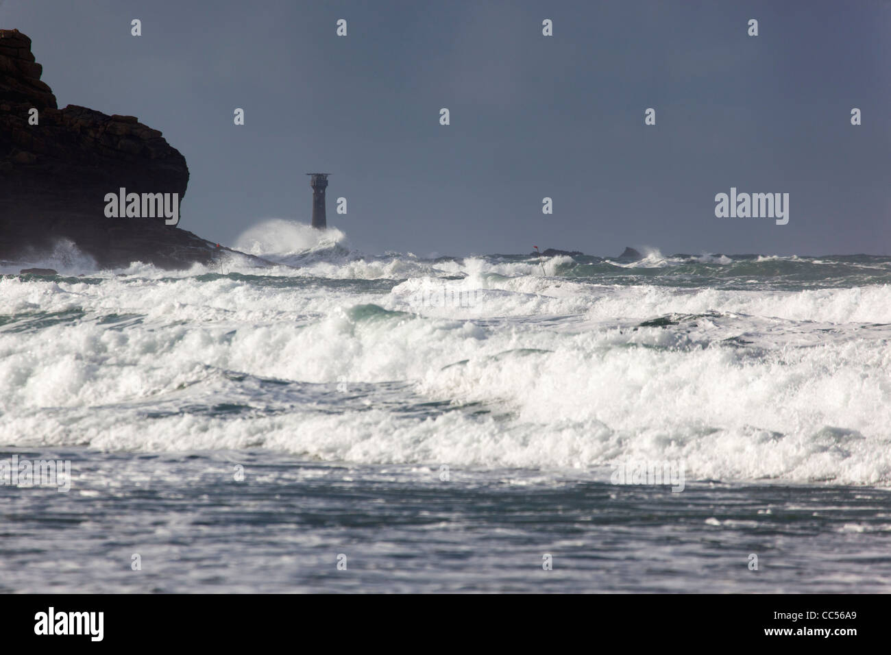 Longships Lighthouse; off Land's End; Cornwall; UK - Stock Image