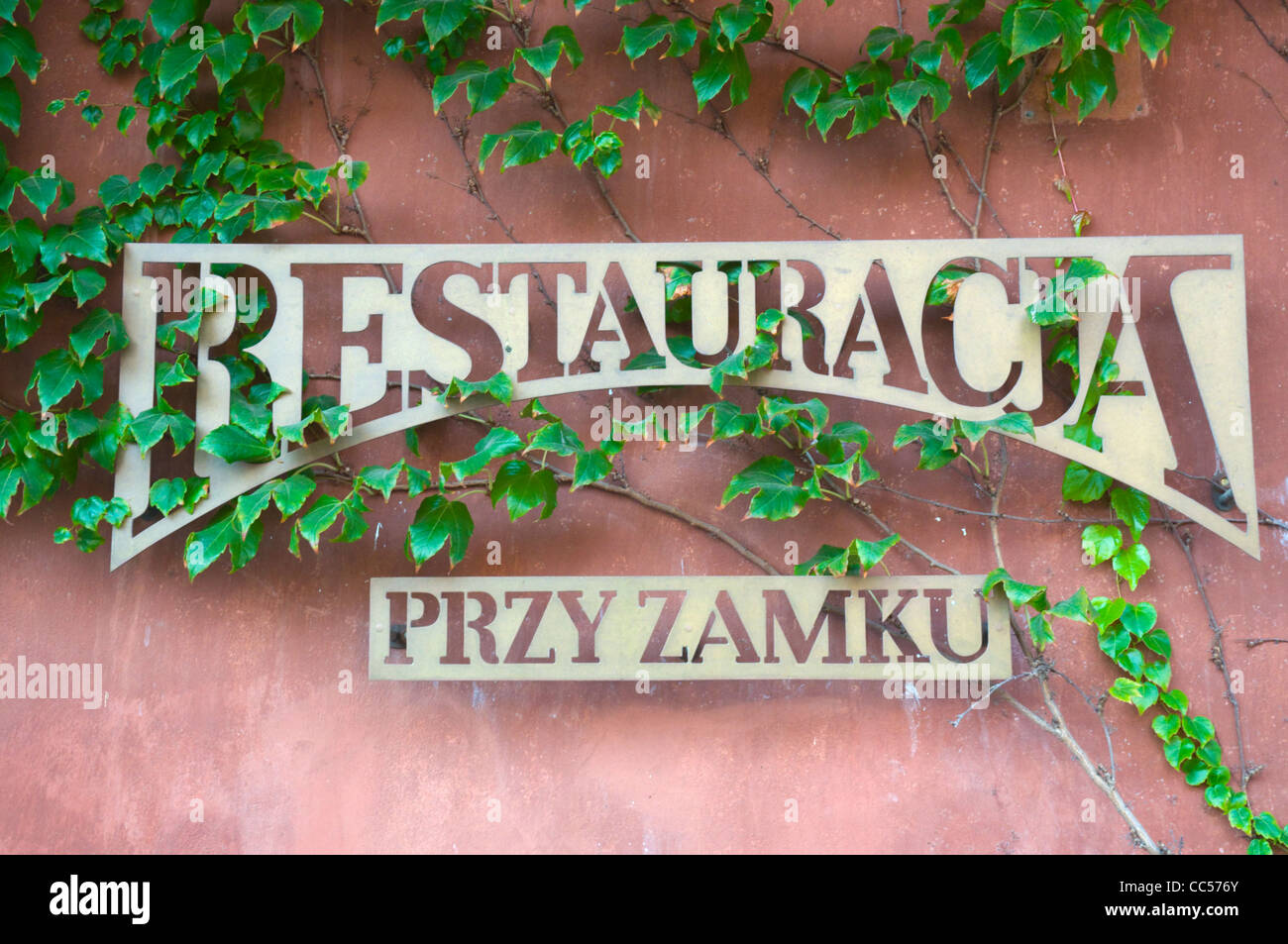 Restaurant sign Plac Zamkowy the Castle square central Warsaw Poland Europe - Stock Image