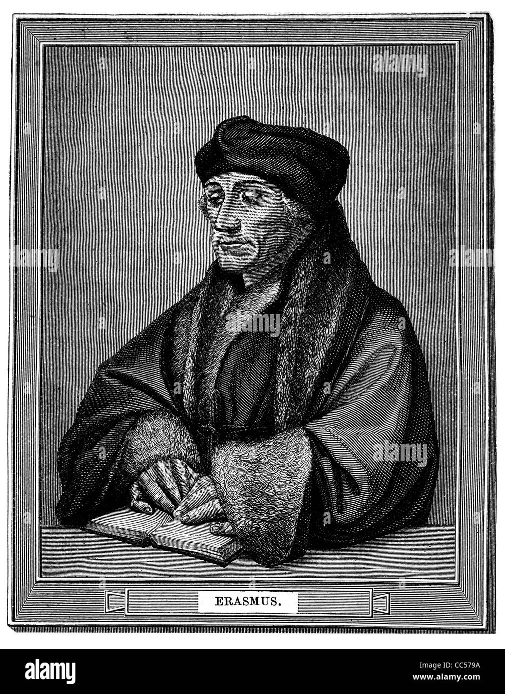 Desiderius Erasmus Roterodamus 1466 1536 portrait Dutch Renaissance humanist Catholic priest social critic teacher - Stock Image