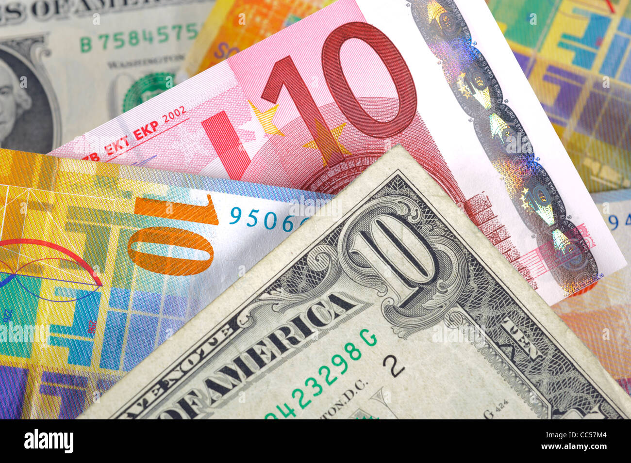 dollar, euro and swiss franc currency - Stock Image