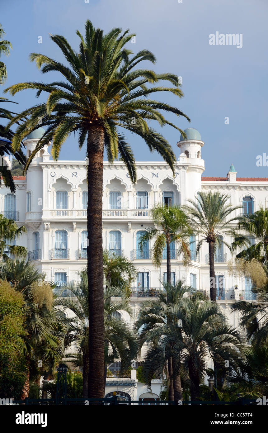 The Oriental Style 'Orient Palace', a former Belle Epoque Hotel, now Up-Market Apartments, Menton, French - Stock Image