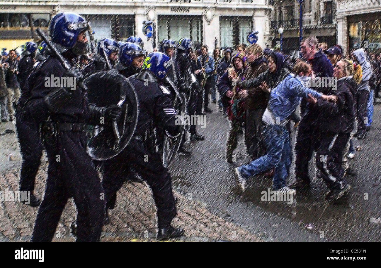 Generic illustrations of British Riot Police in action images treated to avoid identification MR not required - Stock Image