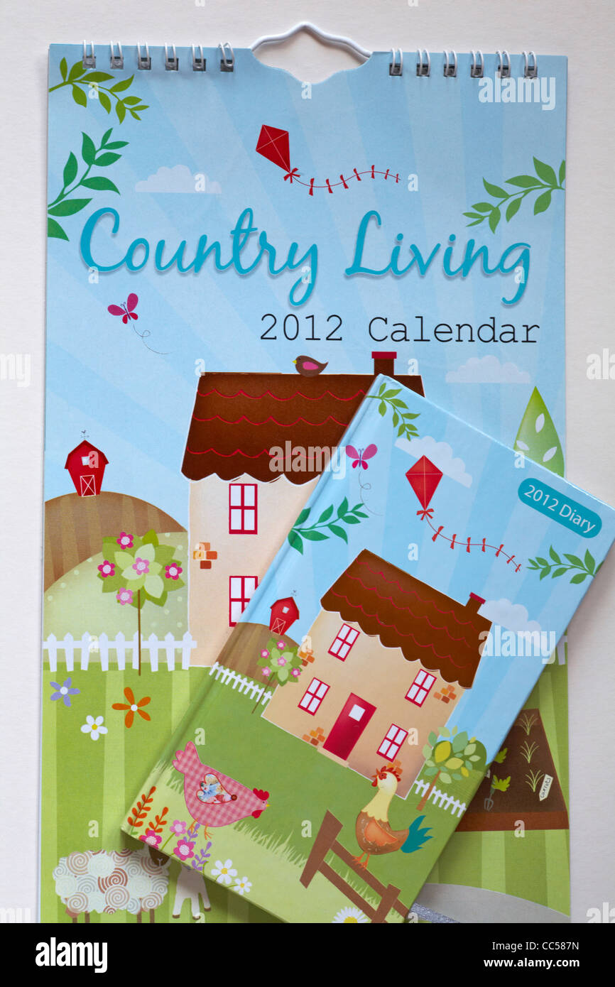Country Living 2012 Calendar and Diary on white background - Stock Image