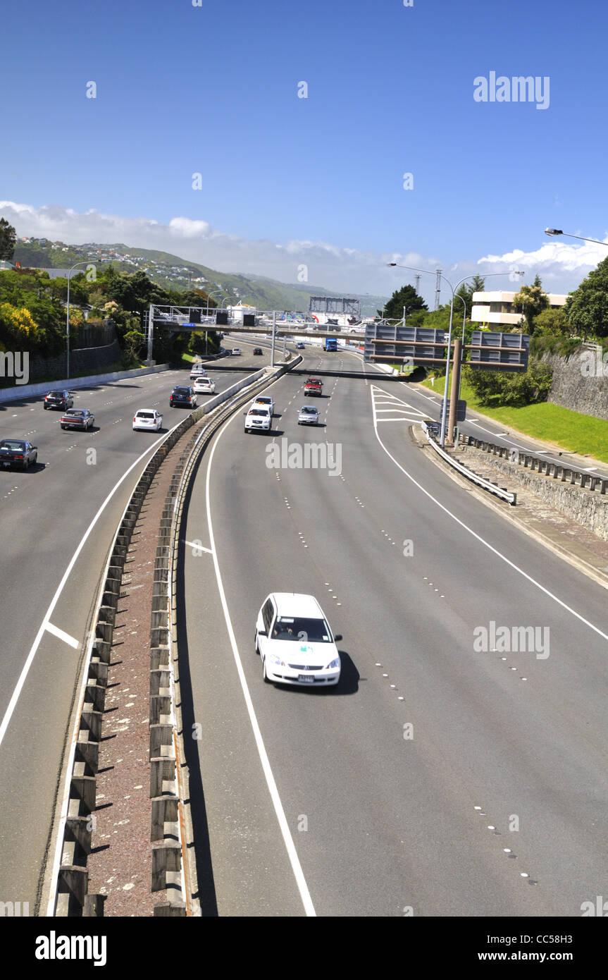 Wellington urban motorway SH1, New Zealand. - Stock Image