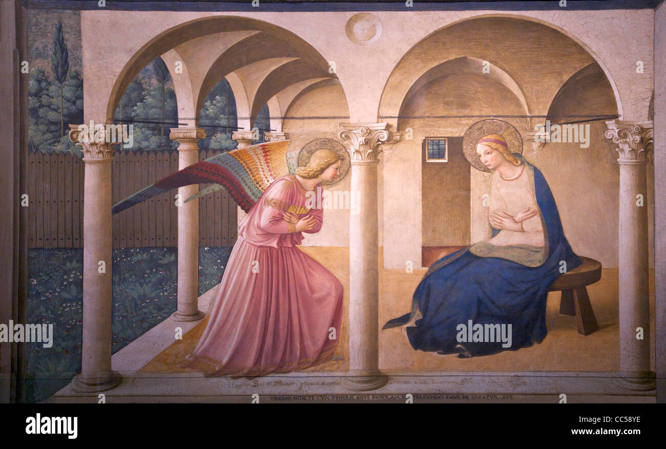 The Annunciation, Fra Beato Angelico, circa 1440, Convent of San Marco, Florence, Tuscany, Italy, Europe - Stock Image