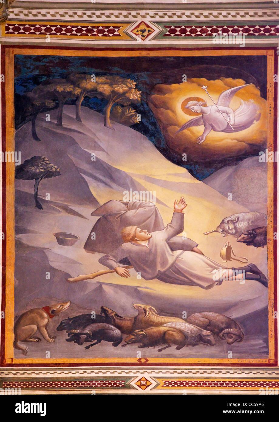 Fresco of angels summoning the shepherds near Bethlehem, by Taddeo Gaddi, Baroncelli Chapel, Basilica of Santa Croce, - Stock Image