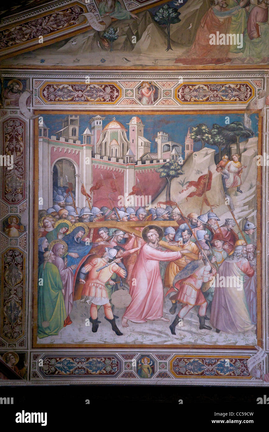 Ascent to Calvary fresco, perhaps by Spinello Aretino, Sacristy,  Rinuccini Chapel, Basilica of Santa Croce, Florence, - Stock Image