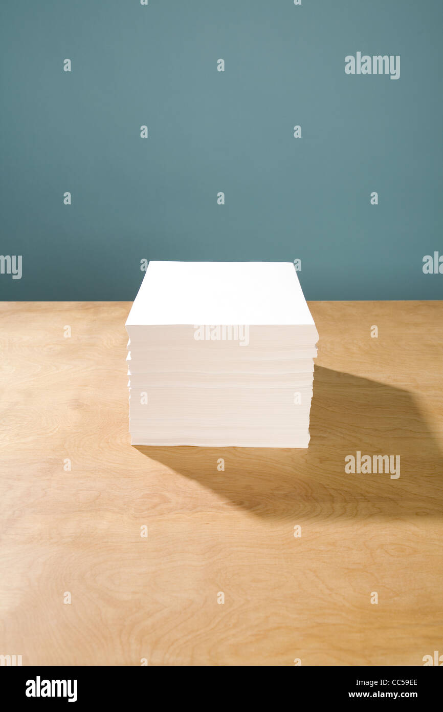Stack of White Paper - Stock Image