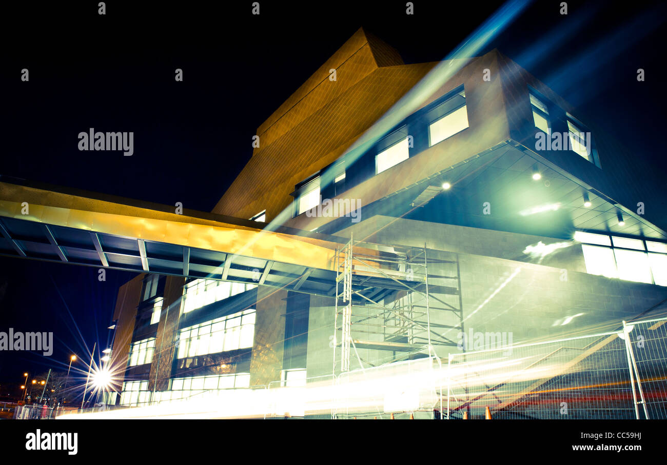 The Hive at Night - under construction in Worcester city centre. Europe's first fully integrated Public & - Stock Image