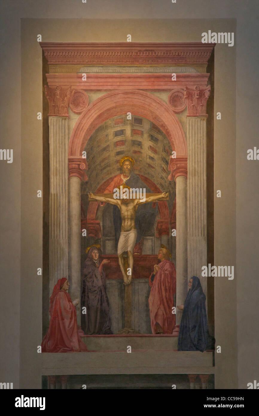 The Trinity, by Masaccio, circa 1427, Church of Santa Maria Novella, Florence, Tuscany, Italy, Europe - Stock Image